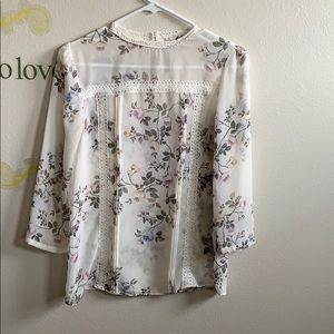 Lauren Conrad floral sheer size s blouse off white